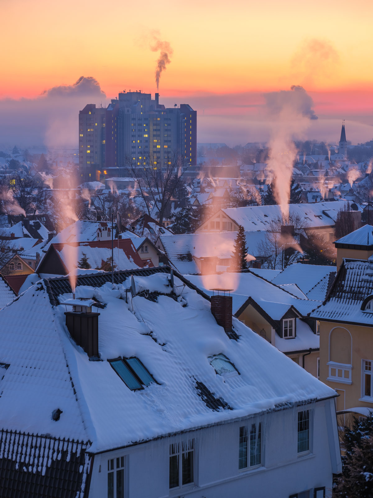 Early in the morning above the rooftops of Bielefeld on 13 February 2021 (Germany).