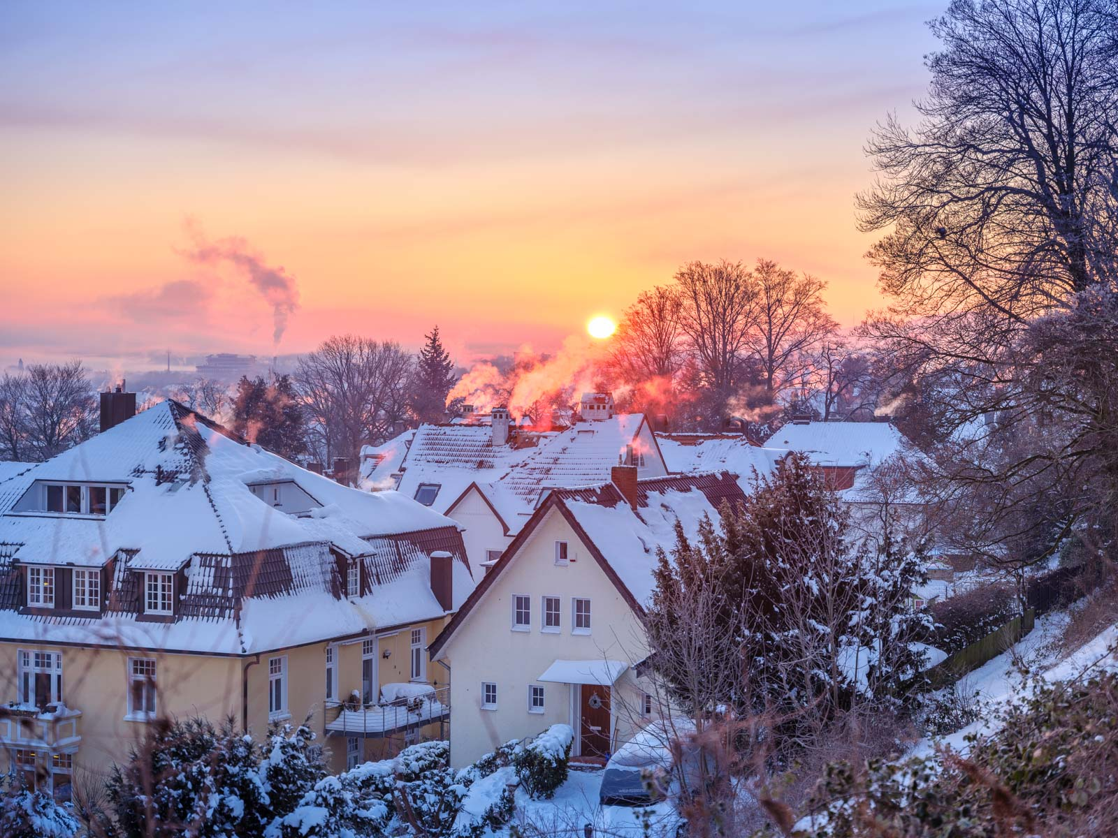 Winter sunrise over Bielefeld (Germany).