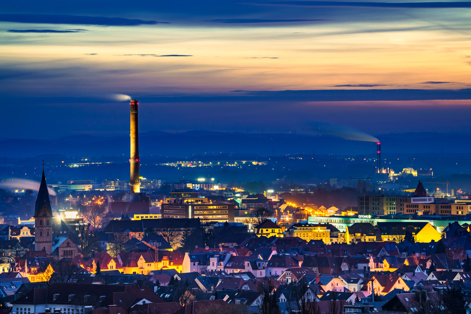 Dawn in winter over Bielefeld on 20 February 2021 (Germany).