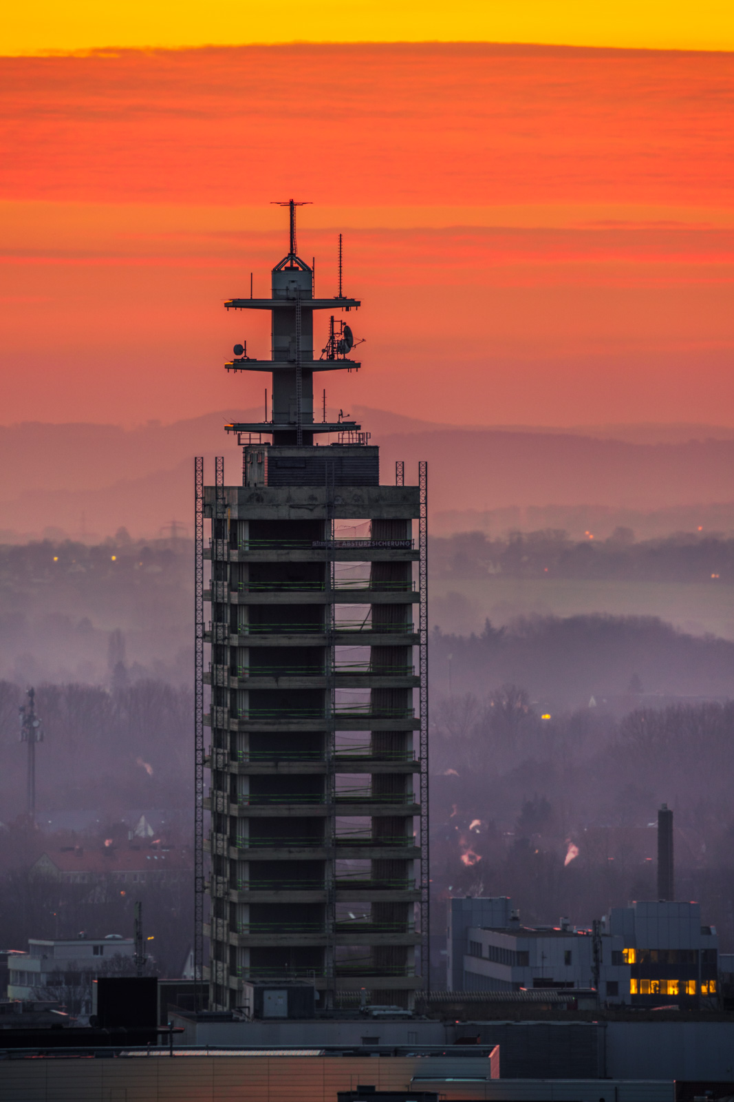 High-rise under construction on 20 February 2021 (Bielefeld, Germany).