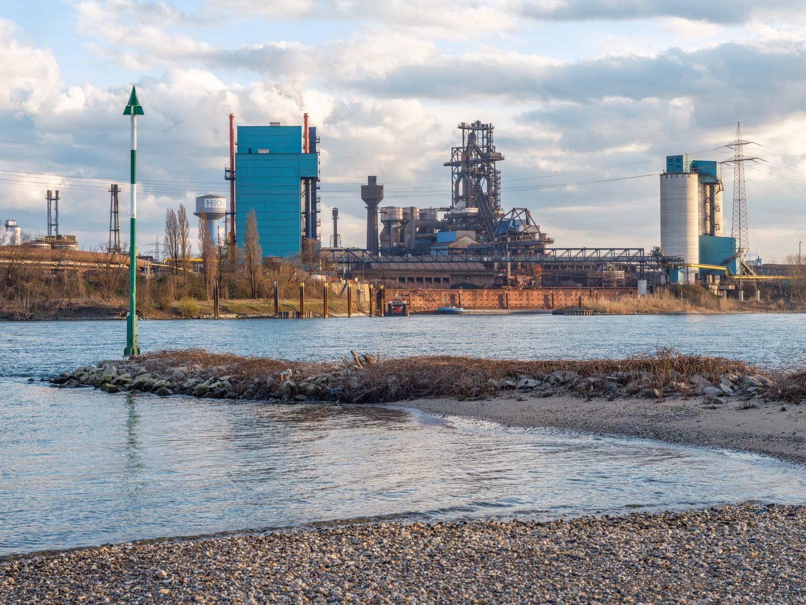 Krupp Mannesmann steelworks (HKM)  in Duisburg on the Rhine in the late afternoon in March 2021 (Germany).